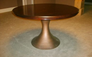 Kitchen Table With Brushed Copper Pedestal