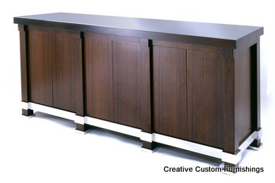 Walnut Custom Credenza with stainless steel accents