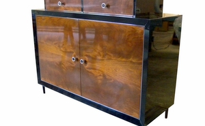 Walnut and High Gloss Black Dining Server