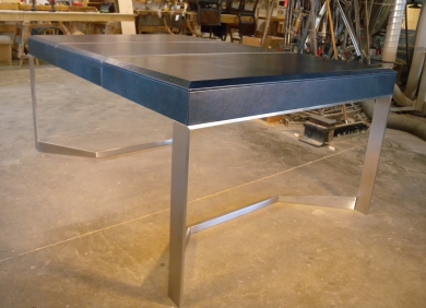 Leather and Stainless Writing Desk created for Rodney Deeprose